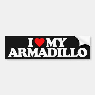 I LOVE MY ARMADILLO CAR BUMPER STICKER