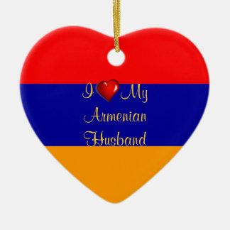 I Love My Armenian Husband Ceramic Heart Decoration