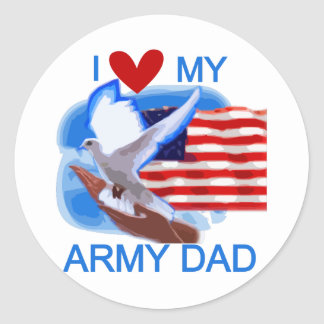 I Love My Army Dad Tshirts and Gifts Round Sticker