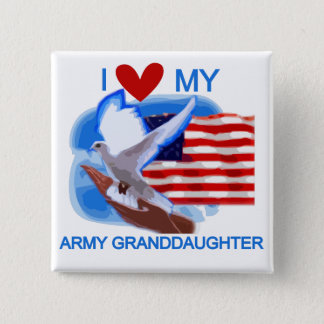 I Love My Army Granddaughter Tshirts and Gifts 15 Cm Square Badge