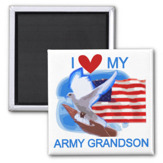 I Love My Army Grandson Tshirts and Gifts Square Magnet