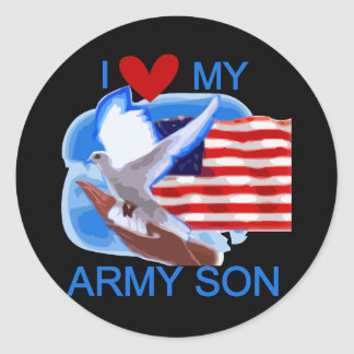 I Love My Army Son Tshirts and Gifts Round Sticker