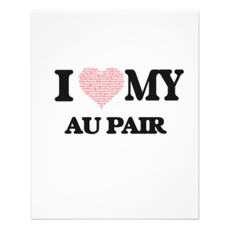 I love my Au Pair (Heart Made from Words) 11.5 Cm X 14 Cm Flyer