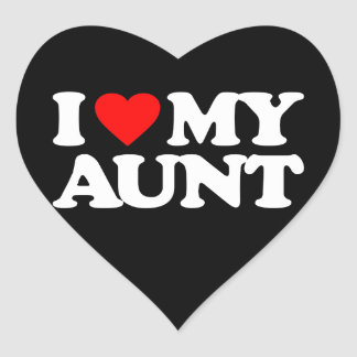 I LOVE MY AUNT HEART STICKERS