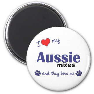 I Love My Aussie Mixes (Multiple Dogs) Magnets