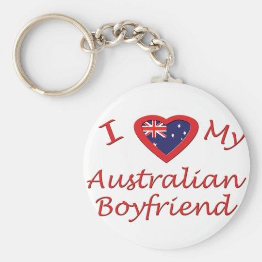 I Love My Australian Boyfriend Basic Round Button Key Ring