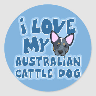 I Love My Australian Cattle Dog Classic Round Sticker