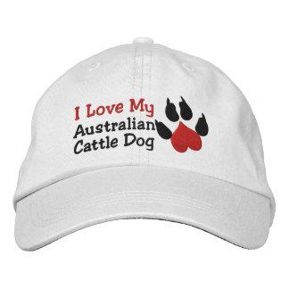 I Love My Australian Cattle Dog Paw Print Embroidered Baseball Caps