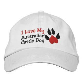 I Love My Australian Cattle Dog Paw Print Embroidered Hats