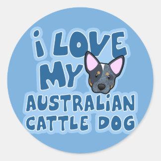 I Love My Australian Cattle Dog Round Sticker