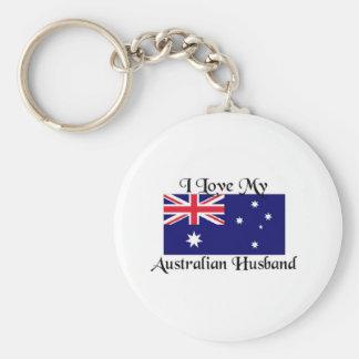 I love my Australian Husband Basic Round Button Key Ring