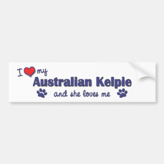 I Love My Australian Kelpie (Female Dog) Bumper Sticker