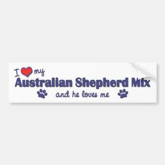 I Love My Australian Shepherd Mix (Male Dog) Bumper Sticker