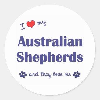 I Love My Australian Shepherds (Many Dogs) Classic Round Sticker