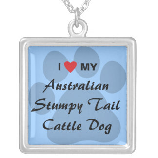 I Love My Australian Stumpy Tail Cattle Dog Square Pendant Necklace