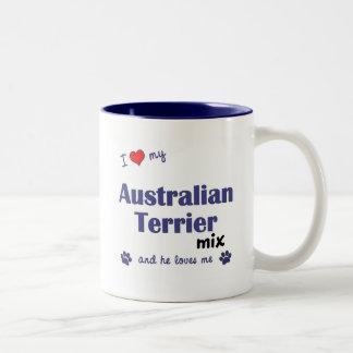 I Love My Australian Terrier Mix (Male Dog) Two-Tone Mug