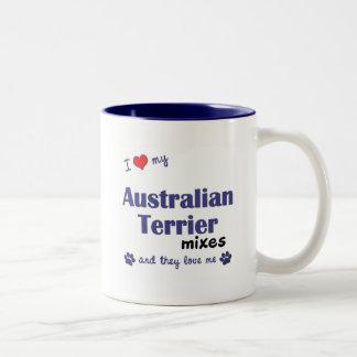 I Love My Australian Terrier Mixes (Multiple Dogs) Two-Tone Mug