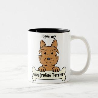 I Love My Australian Terrier Two-Tone Coffee Mug