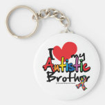 I Love My Autistic Brother Basic Round Button Key Ring