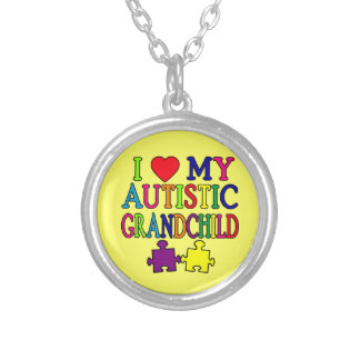 I Love My Autistic Grandchild Silver Plated Necklace