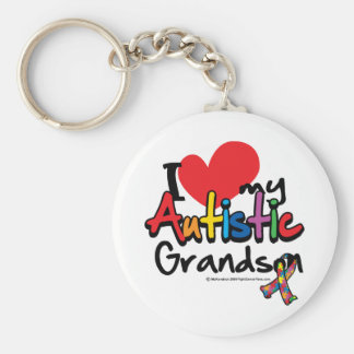 I Love My Autistic Grandson Basic Round Button Key Ring