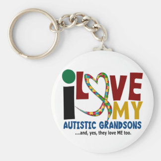 I Love My Autistic Grandsons 2 AUTISM AWARENESS Basic Round Button Key Ring