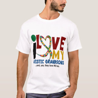I Love My Autistic Grandsons 2 AUTISM AWARENESS T-Shirt