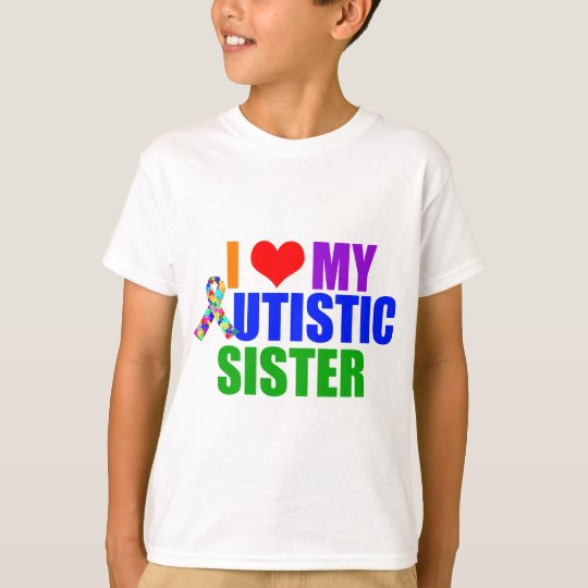 I Love My Autistic Sister Kids T-Shirt
