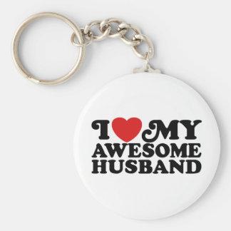 I Love My Awesome Husband Basic Round Button Key Ring