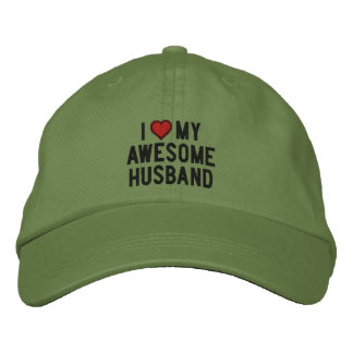 I love my awesome husband embroidered cap