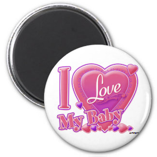 I Love My Baby pink/purple - hearts 6 Cm Round Magnet