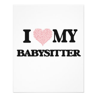 I love my Babysitter (Heart Made from Words) 11.5 Cm X 14 Cm Flyer