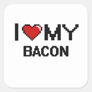 I Love My Bacon Digital design Square Sticker
