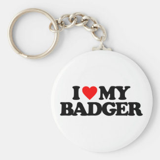 I LOVE MY BADGER BASIC ROUND BUTTON KEY RING