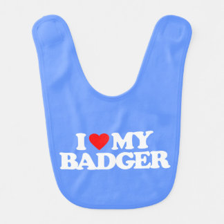 I LOVE MY BADGER BIB