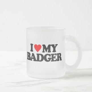 I LOVE MY BADGER FROSTED GLASS MUG