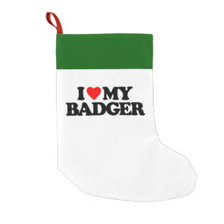 I LOVE MY BADGER SMALL CHRISTMAS STOCKING