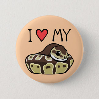 """I Love My Ball Python"" Cute Snake Drawing Button"