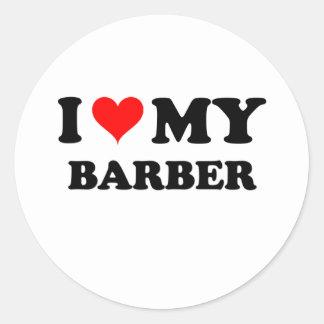 I Love My Barber Classic Round Sticker