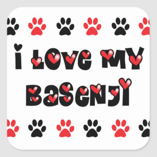 I Love My Basenji Square Sticker