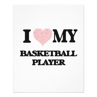 I love my Basketball Player (Heart Made from Words 11.5 Cm X 14 Cm Flyer