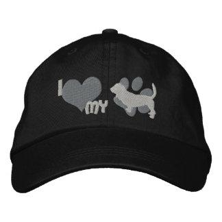 I Love my Basset Hound Embroidered Hat Gray
