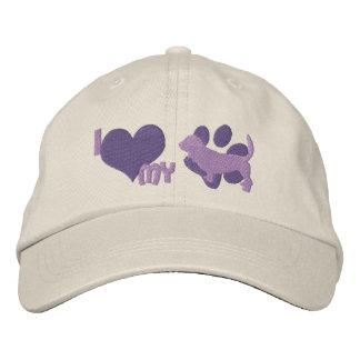 I Love my Basset Hound Embroidered Hat Purple