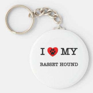 I LOVE MY BASSET HOUND KEY RING