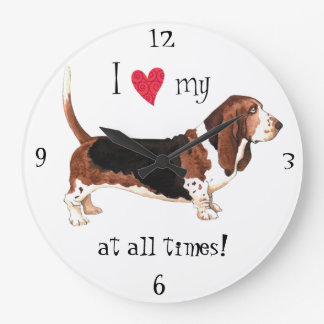 I Love my Basset Hound Large Clock