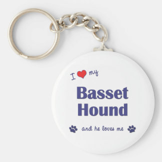 I Love My Basset Hound (Male Dog) Key Ring