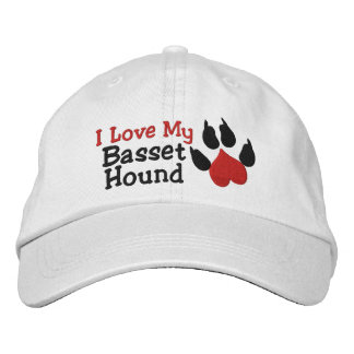I Love My Basset Hound Paw Print Embroidered Hats