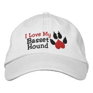 I Love My Basset Hound Paw Print Embroidered Hat