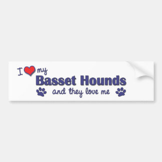 I Love My Basset Hounds (Multiple Dogs) Bumper Sticker