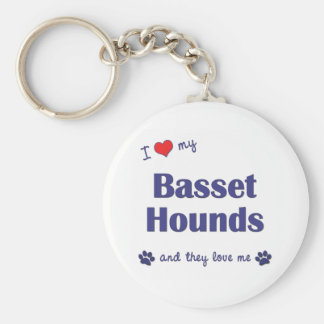 I Love My Basset Hounds (Multiple Dogs) Key Ring